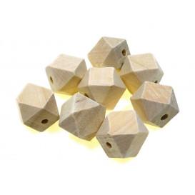 8 perles géométriques en bois 1,5cm trou 3mm
