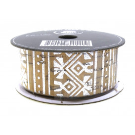 bobine de ruban liège motifs argentés 2,5cm x 2m