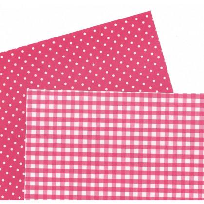 2 feuilles de papier autocollant washi paper vichy pois rose