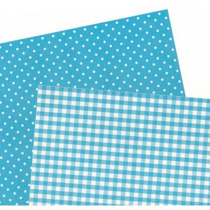 2 feuilles de papier autocollant washi paper vichy pois bleu