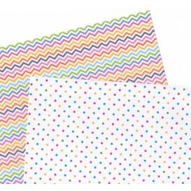 2 feuilles de papier autocollant washi paper pois chevrons