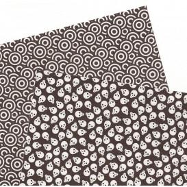 2 feuilles de papier autocollant washi paper ronds tetes de mort