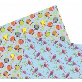 2 feuilles de papier autocollant washi paper oiseaux hiboux