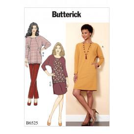 patron robe, tunique, jupe, pantalon Butterick B6525