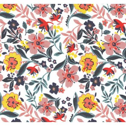 tissu popeline blanc fleurs jaunes/rouges largeur 145cm x 50cm