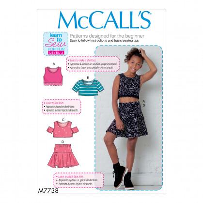 patron enfant hauts et jupe McCall's M7738