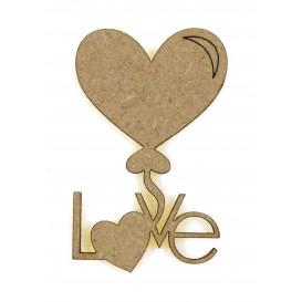 sujet en bois coeur vole love