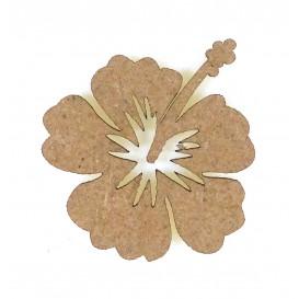 sujet en bois fleur ibiscus