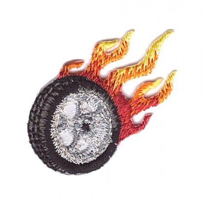 écusson pneu de voiture flamme thermocollant