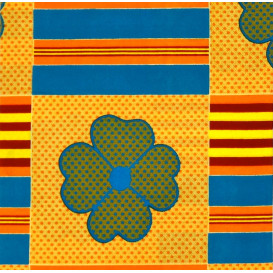 tissu africain wax trèfles bleu/orange largeur 113cm x 50cm