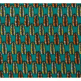 tissu africain wax feuilles jaune/orange largeur 113cm x 50cm