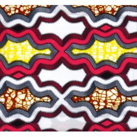 tissu africain wax formes fuchsia/jaune largeur 113cm x 50cm