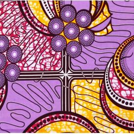 tissu africain wax formes lilas/jaune largeur 113cm x 50cm