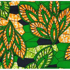 tissu africain wax feuilles vert/orange largeur 113cm x 50cm
