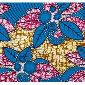 tissu africain wax feuilles bleu/fuchsia largeur 113cm x 50cm