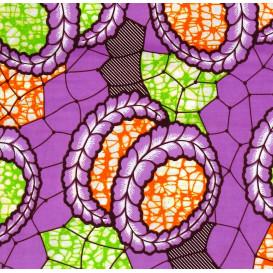 tissu africain wax couronne fleurs lilas largeur 113cm x 50cm