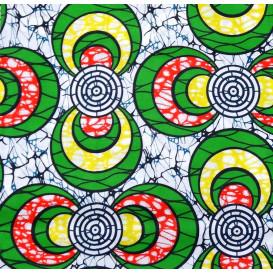 tissu africain wax cercles vert/jaune/rouge largeur 113cm x 50cm