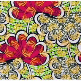 tissu africain wax brillant fleurs multicolore largeur 113cm x 50cm