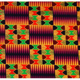 tissu africain wax brillant formes multicolore largeur 113cm x 50cm n°2