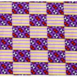 tissu africain wax brillant formes violet/blanc largeur 113cm x 50cm