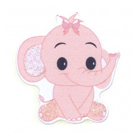sticker éléphant rose en bois 3,4x3,6cm