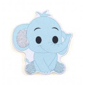 sticker éléphant bleu en bois 3,4x3,6cm