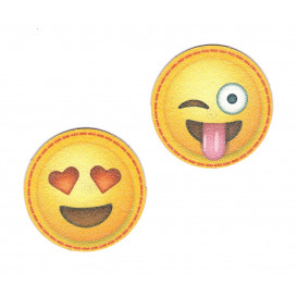2 écussons emoji 4,3cm thermocollant