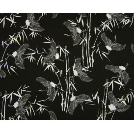 tissu viscose noir grue chinoise largeur 140cm x 50cm
