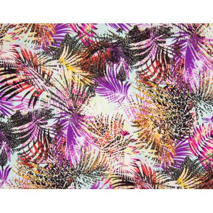 tissu viscose feuille exotique multicolore largeur 140cm x 50cm