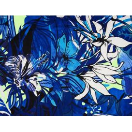 tissu viscose fleur ibiscus bleue largeur 145cm x 50cm