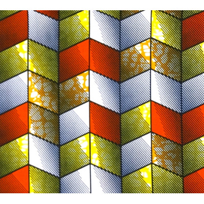 coupon 0,30mx 1,13m tissu africain wax losanges orange/jaune