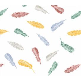 tissu popeline blanc plume multicolore largeur 145cm x 50cm