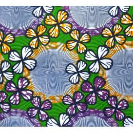 tissu africain wax fleurs et cercles orange/violet largeur 113cm x 50cm