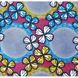 tissu africain wax fleurs et cercles jaune/bleu largeur 113cm x 50cm