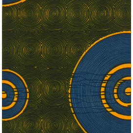 tissu africain wax cercles jaune/bleu largeur 113cm x 50cm