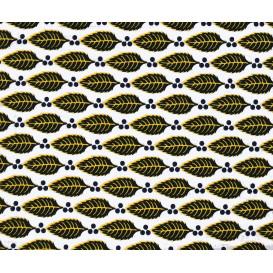 tissu africain wax feuilles jaune/noir largeur 113cm x 50cm