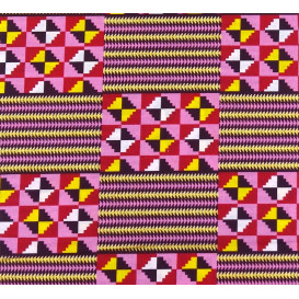 tissu africain wax brillant formes rose/fuchsia largeur 113cm x 50cm