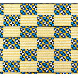 tissu africain wax brillant formes bleu/blanc largeur 113cm x 50cm