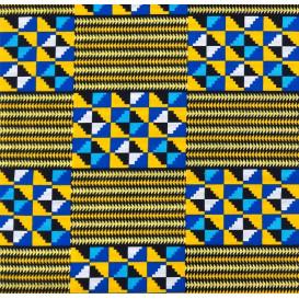 tissu africain wax brillant formes bleu/jaune largeur 113cm x 50cm