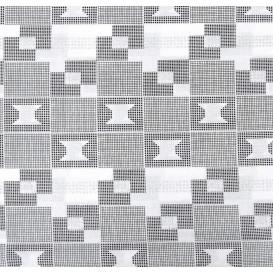 tissu africain wax brillant rectangle noir/blanc largeur 113cm x 50cm