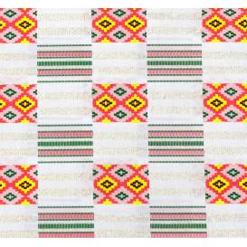 tissu africain wax brillant formes blanc/rose largeur 113cm x 50cm