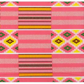 tissu africain wax brillant formes rose largeur 113cm x 50cm
