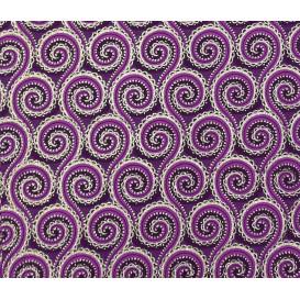 tissu africain wax brillant arabesque violet largeur 113cm x 50cm