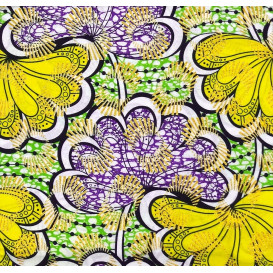 tissu africain wax brillant fleur jaune/violet largeur 113cm x 50cm