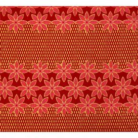 tissu africain wax brillant fleurs rouge largeur 113cm x 50cm