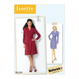 patron robe faux-portefeuille Butterick B6589