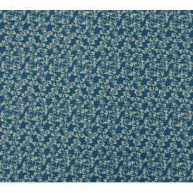 tissu viscose bleu fleur écru largeur 140cm x 50cm