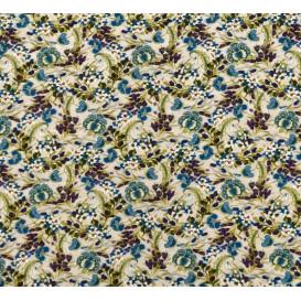 tissu viscose écru fleur bleue largeur 140cm x 50cm