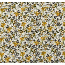 tissu viscose écru fleur jaune largeur 140cm x 50cm