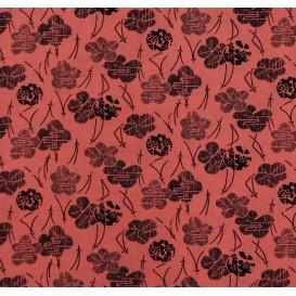 tissu viscose rose fleur noir largeur 140cm x 50cm